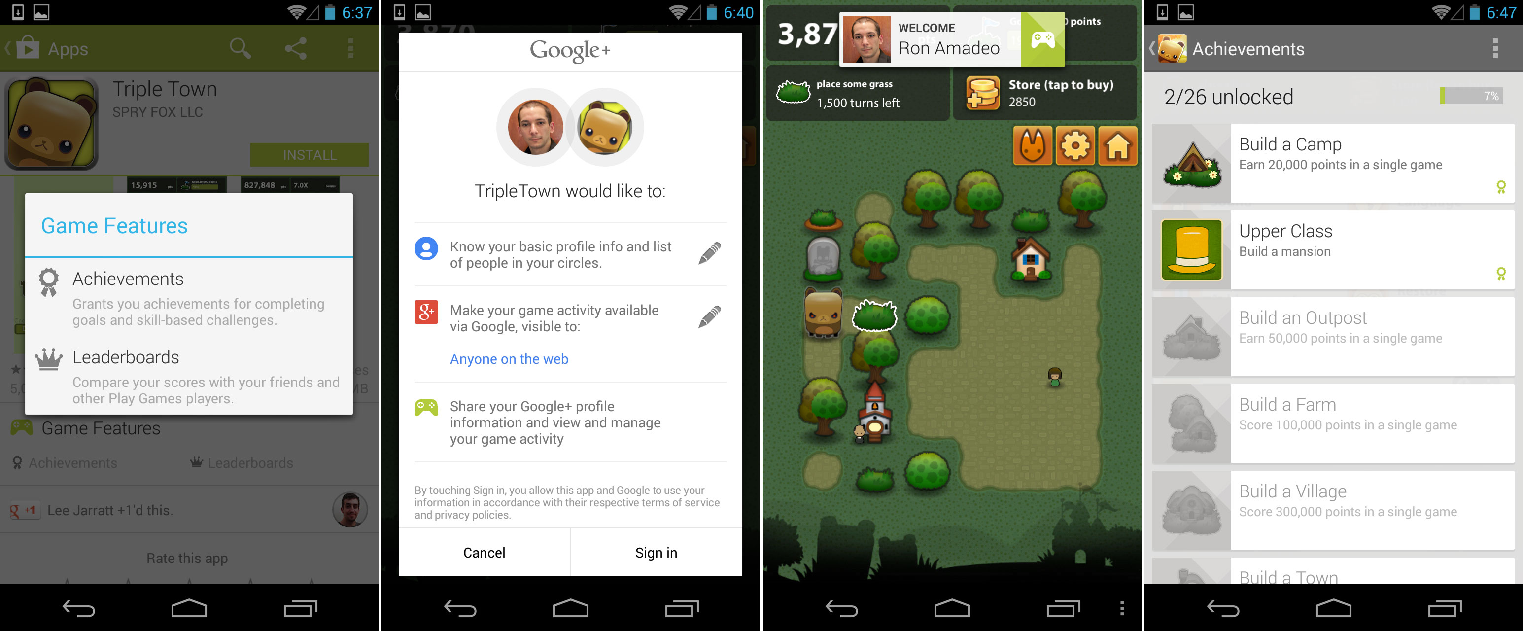 A game showing support for Google Play Games. This lineup shows the Play Store game feature descriptions, the permissions box triggered by signing into the game, a Play Games notification, and the achievements screen.