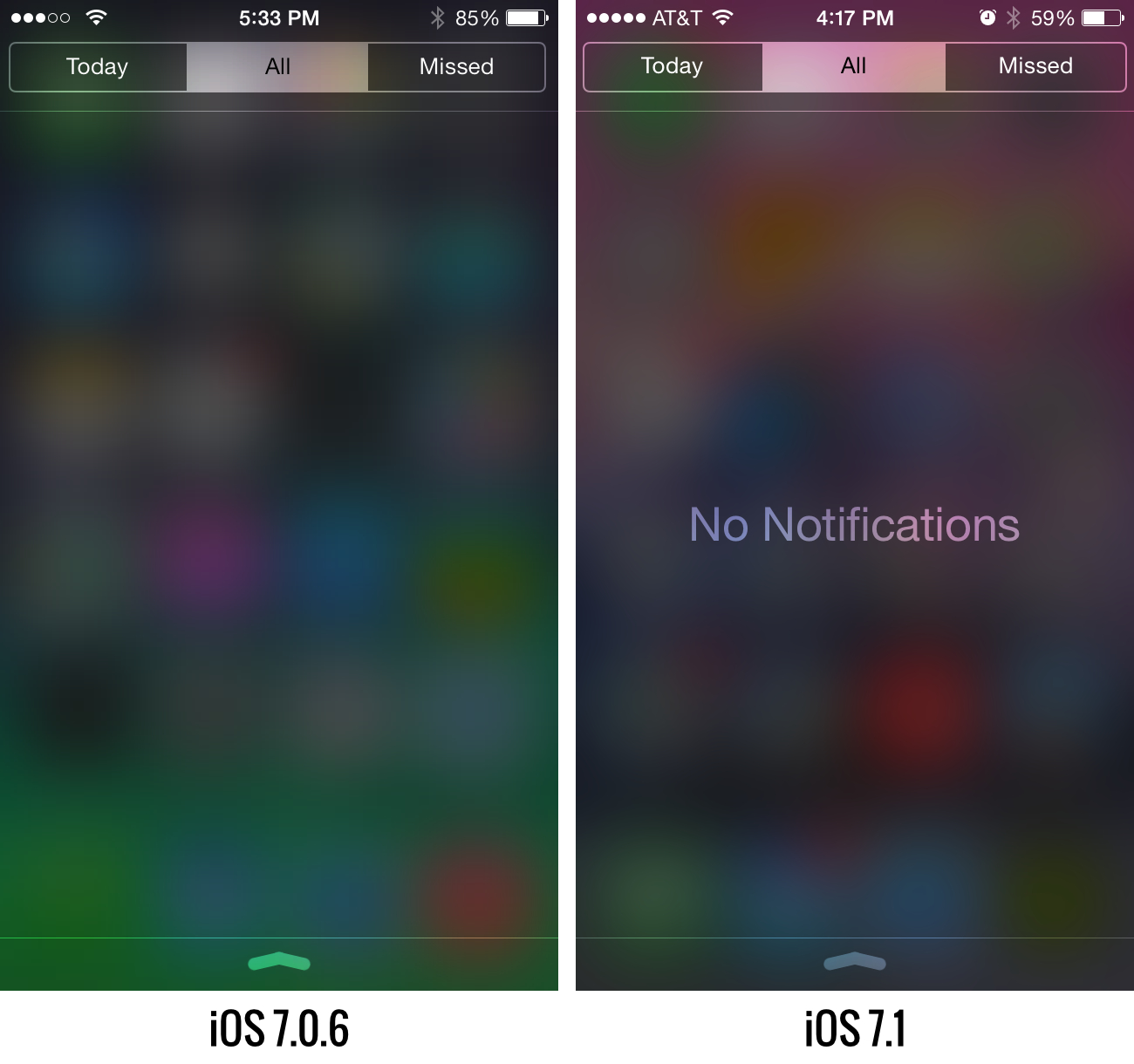 Don't have any notifications? iOS 7.1 will tell you so.