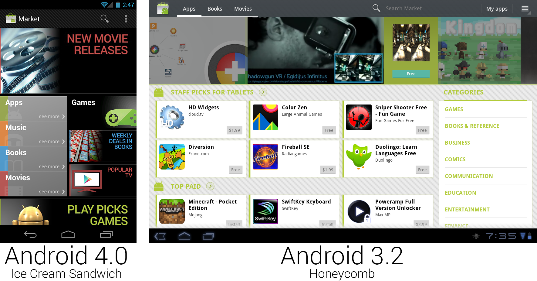 The main page of the Android Market changed back to black.