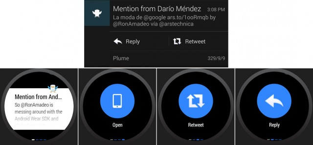 Top: an Android notification on a phone. Bottom: What Android Wear creates from that application.