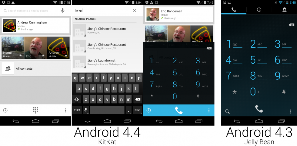 The first three screenshots show KitKat's dialer, and the last one is 4.3.