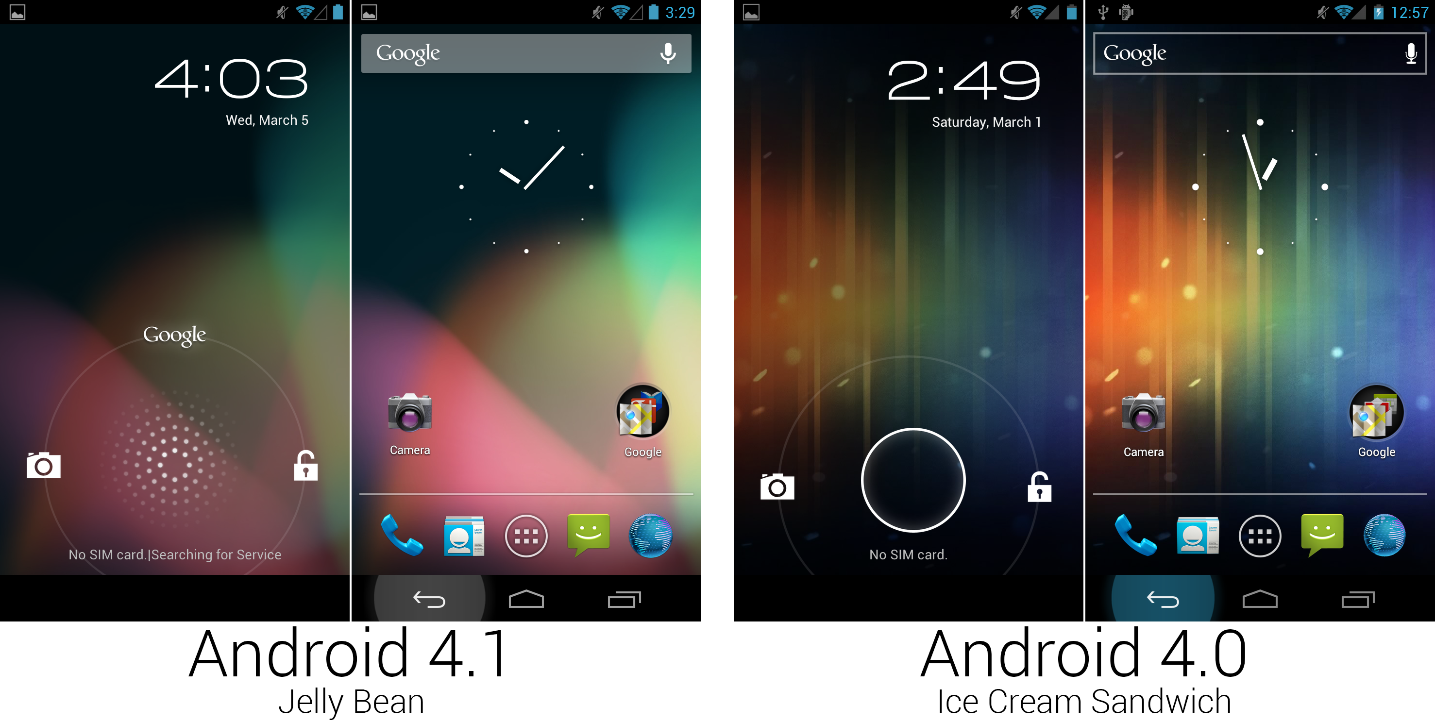 4.1's new lock screen design, wallpaper, and the new on-press highlight on the system buttons.