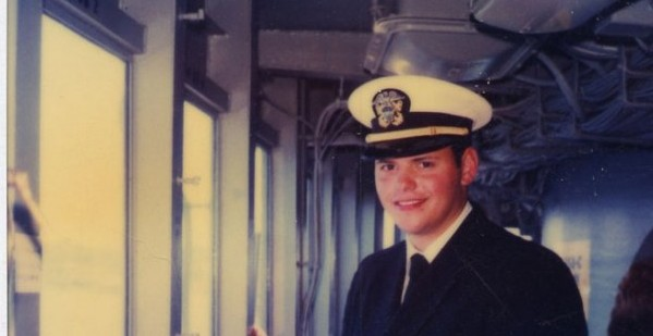 The author as a young Navy officer aboard the USS Iowa in 1988, just outside the armored citadel on the bridge that sat below the director for the fire control system the Rangekeeper Mark 8 was part of.