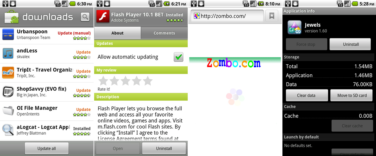 """The downloads page showing the """"update all"""" button, the Flash app, a flash-powered site where anything is possible, and the """"move to SD"""" button."""