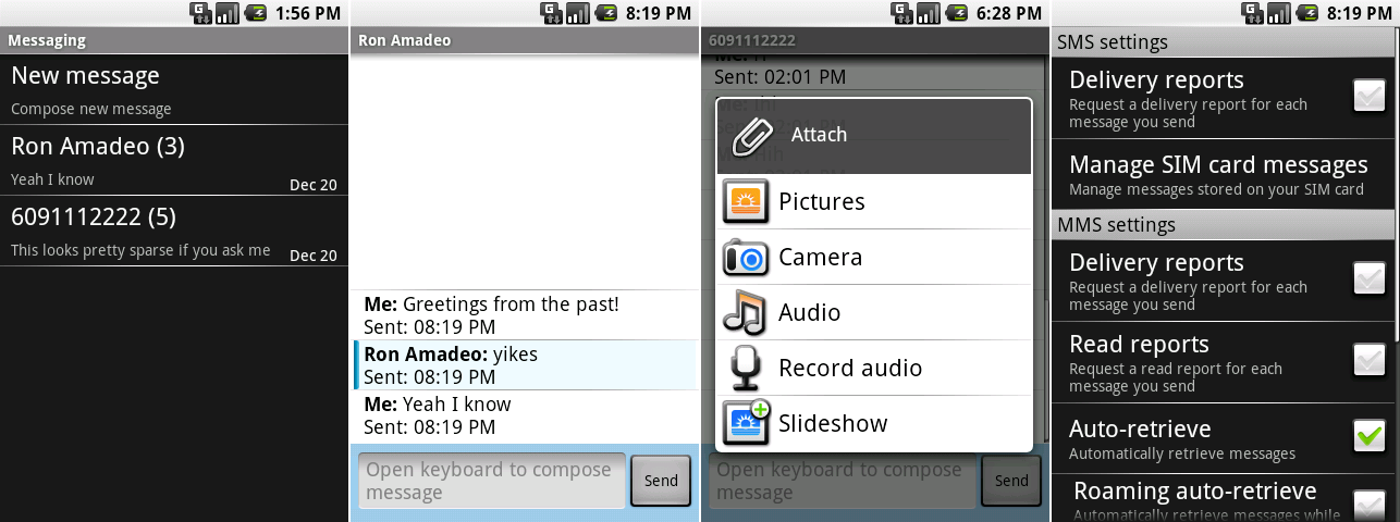 The SMS app's chat window, attachment screen, chat list, and setting.