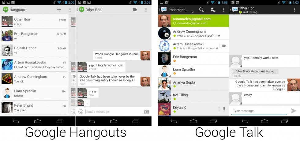 Hangouts replaced Google Talk and is now continually developed by the Google+ team.