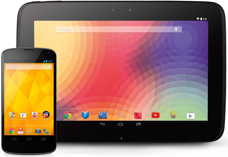 The LG-made Nexus 4 and Samsung-made Nexus 10.