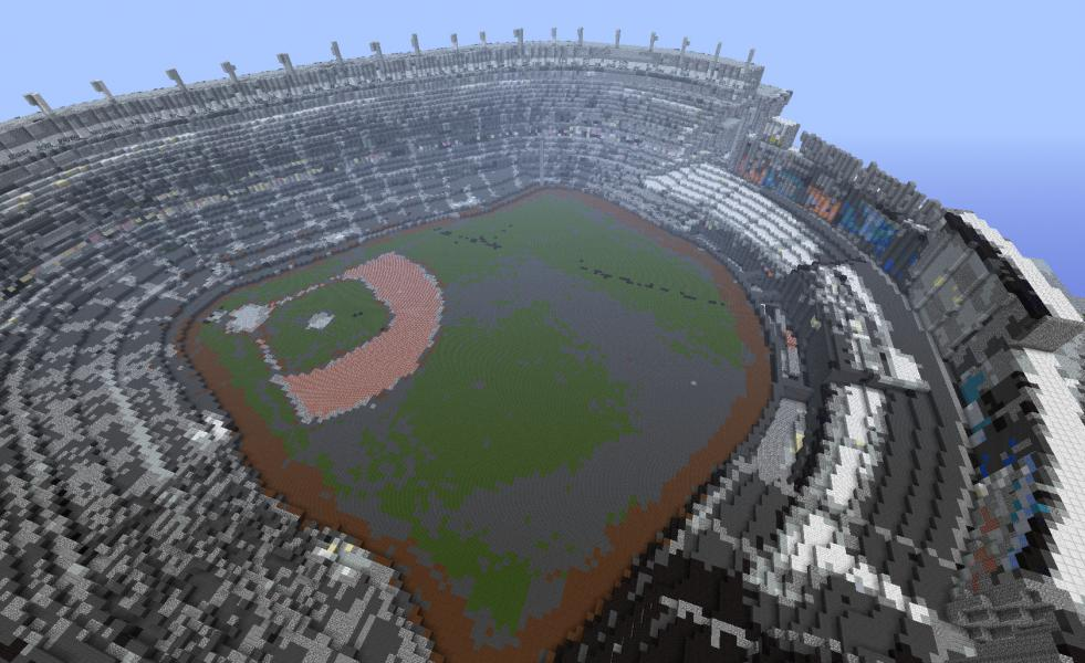 Yankee Stadium, rendered in <em>Minecraft</em> pointillism.