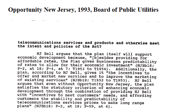 The 1993 Opportunity New Jersey agreement.