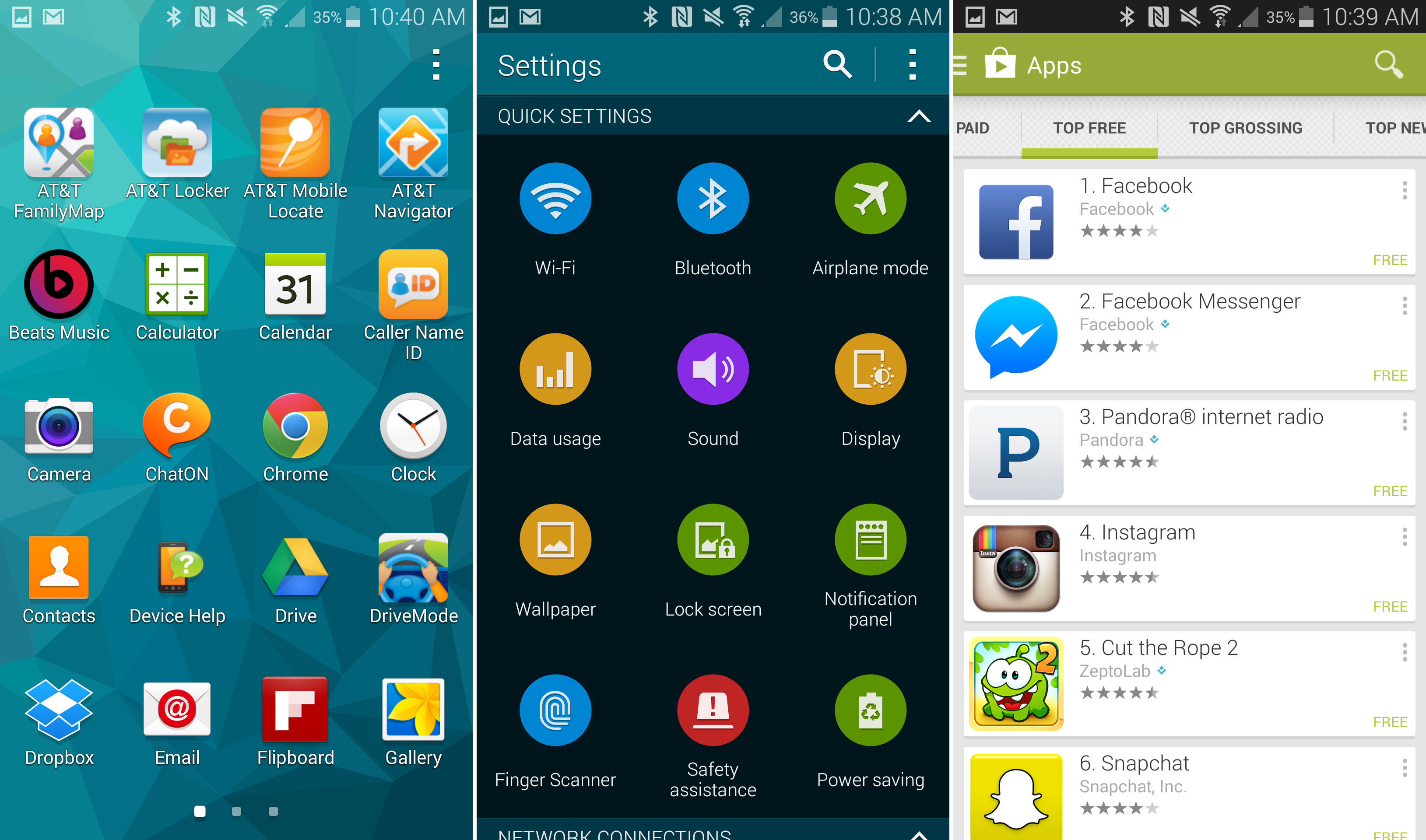 Touchwiz, Tizen, and Google's Android, all in the same OS.