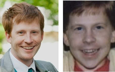 Sam Machkovech's 30-year-old photo put next to his age-progressed estimate of 30.