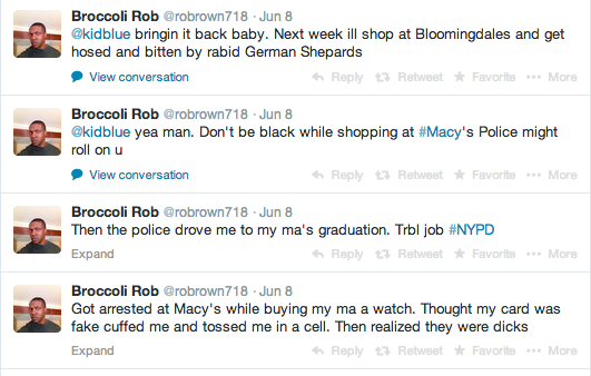 Screenshot of some of Rob Brown's tweets @Macy's after his incident.
