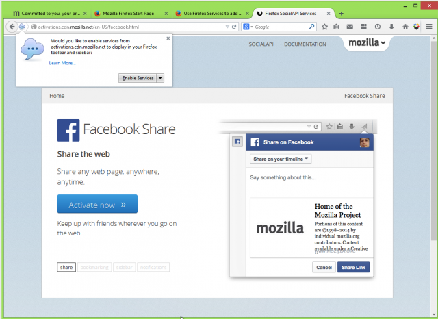 "Click on the ""activate now"" link on Firefox's SocialAPI page for Facebook, and Firefox prompts you to enable the link-sharing service. It can then be launched from a paper airplane icon on the toolbar or in the menu."