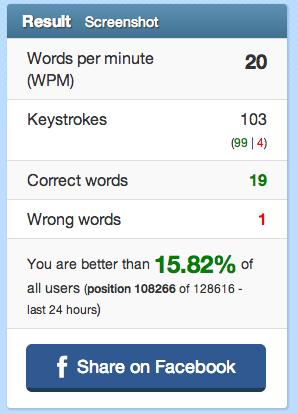 My Dvorak typing speed on 10fastfingers.com.