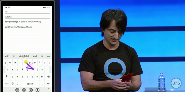 "Belfiore showing off ""shape writing"" with the new Swype-like keyboard."