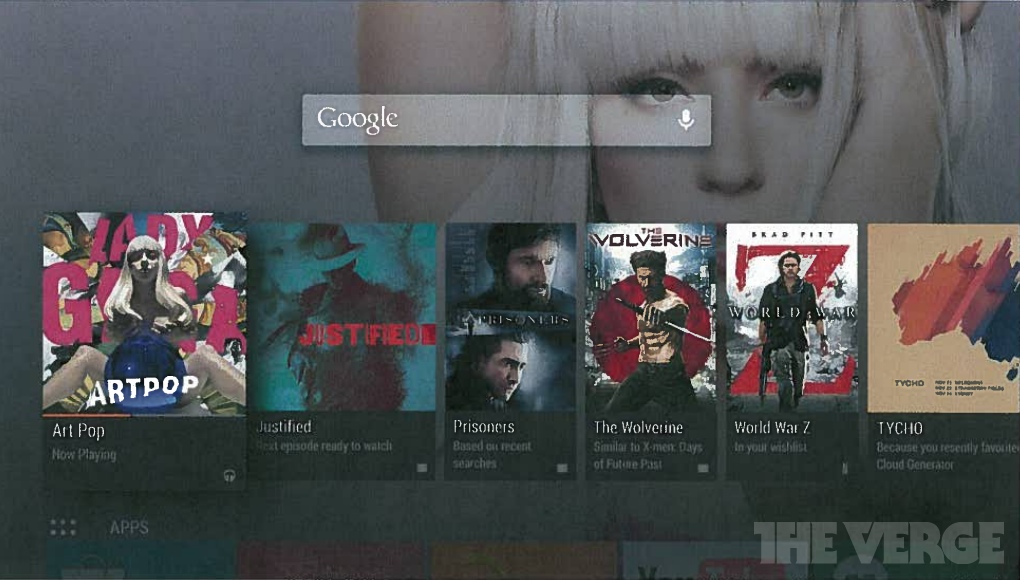 "Earlier leaked screenshots of ""Android TV."""