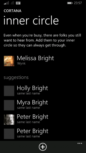 Cortana makes some sensible guesses as to who should be in your Inner Circle.