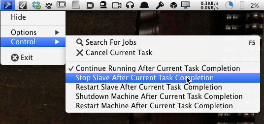 Deadline's sweet menu bar access to the Slave process. This is the kind of high-level polish that sets it apart from the other programs.<br />