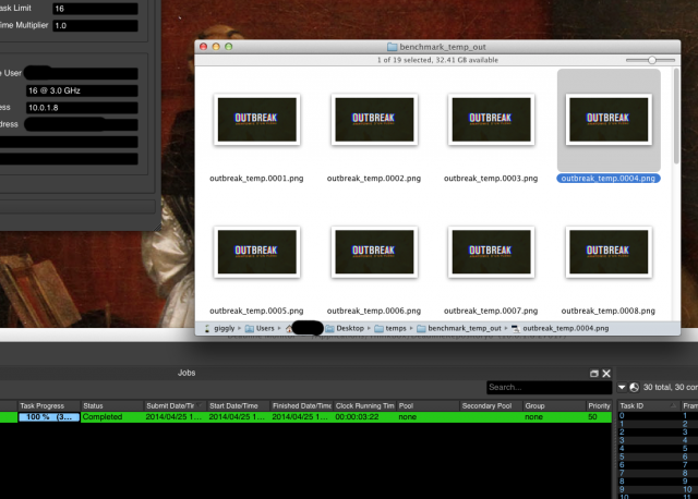 Frames that are the same, regardless of what machine rendered them, and I even have plug-ins for effects in there.