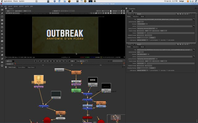 My Mac-created Nuke scene open in CentOS with assets referencing the networked Thunderbolt RAID.