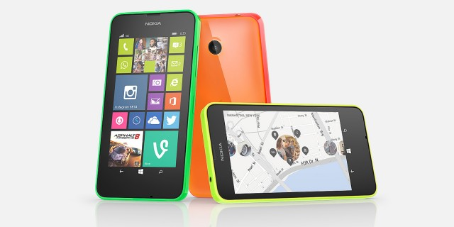Nokia's Lumia 630 and 635 (pictured) will probably be the first Windows Phone handsets to hit the market that use software keys on the front. Note how the back button rotates, so it always points left. They also use the new 480×854 screen resolution.