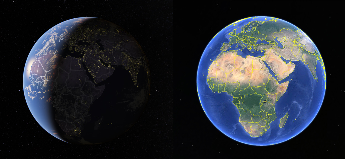 Google Maps' accurate Earth versus Google Earth's cartoony Earth.