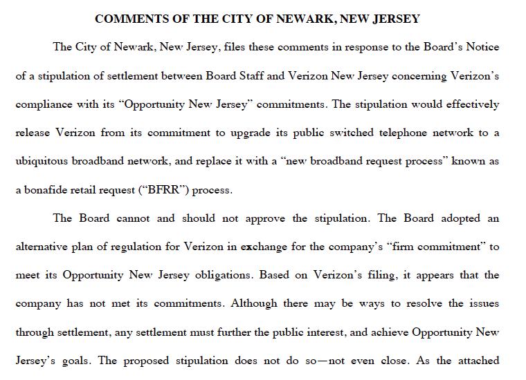 Newark's opposition.