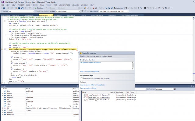 Debugging a Cordova application within Visual Studio. This application uses the underscore.js library.