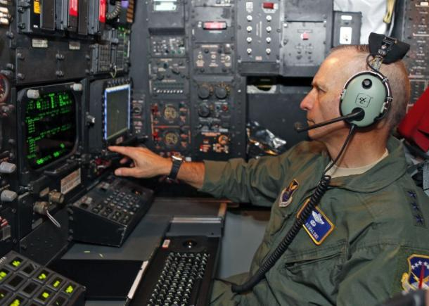 A 2012 photo of then Lt. Gen. Jim Kowalski running a prototype of the Combat Network Communications Technology (CONECT) program aboard a B-52H Stratofortress test bomber at Edwards Air Force Base. Note the old-school display of the legacy system.