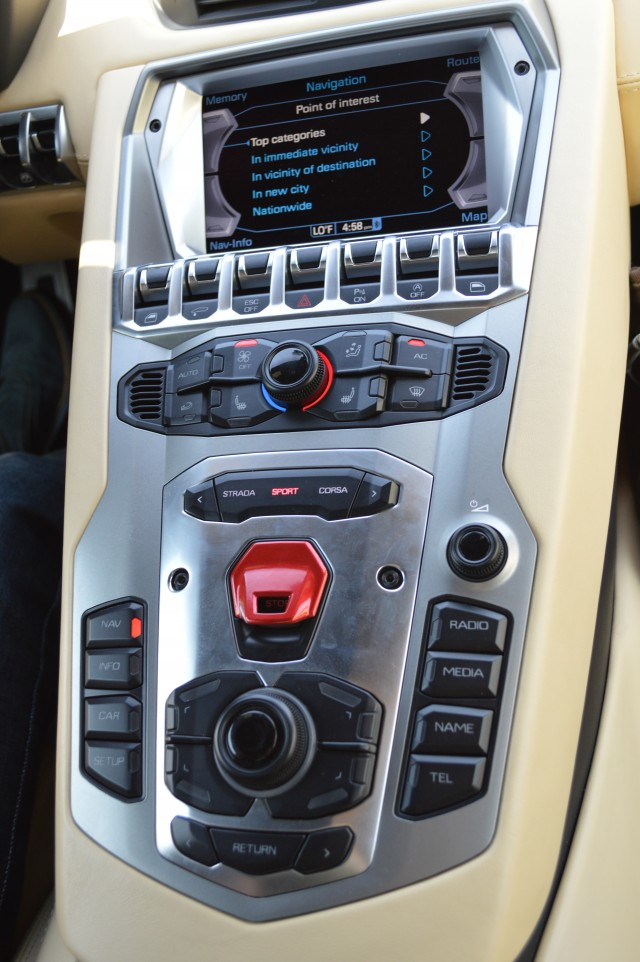 The Aventador's center console.