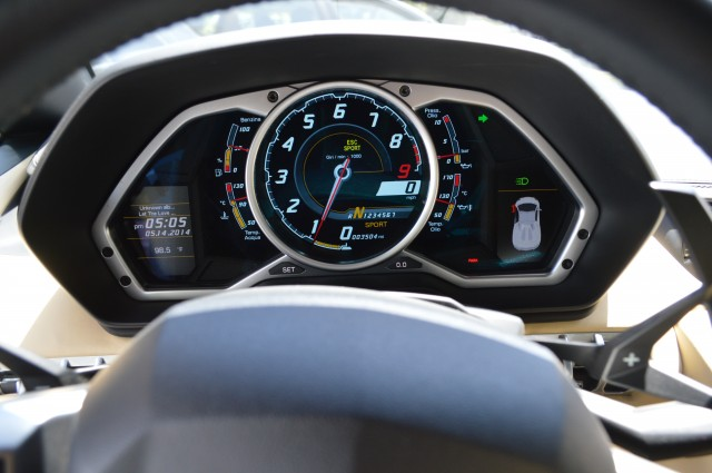 The Aventador's instrument clusters show that it was hot as all heck outside in Santa Clara earlier this week.