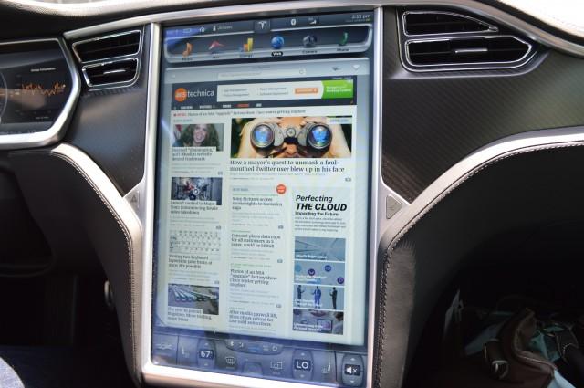 The Tesla Model S center display.