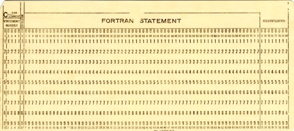 A Hollerith card that, when punched, will contain one Fortran statement.