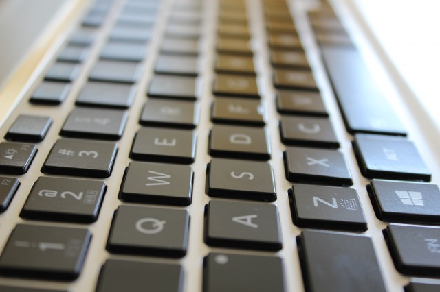 Key travel felt a little longer than other laptops, possibly because keys don't fit entirely flush into the chiclet-style keyboard. That's not shadow, but about a millimeter of space above every key. We noticed this mostly when reaching for the CTRL and ESC keys.