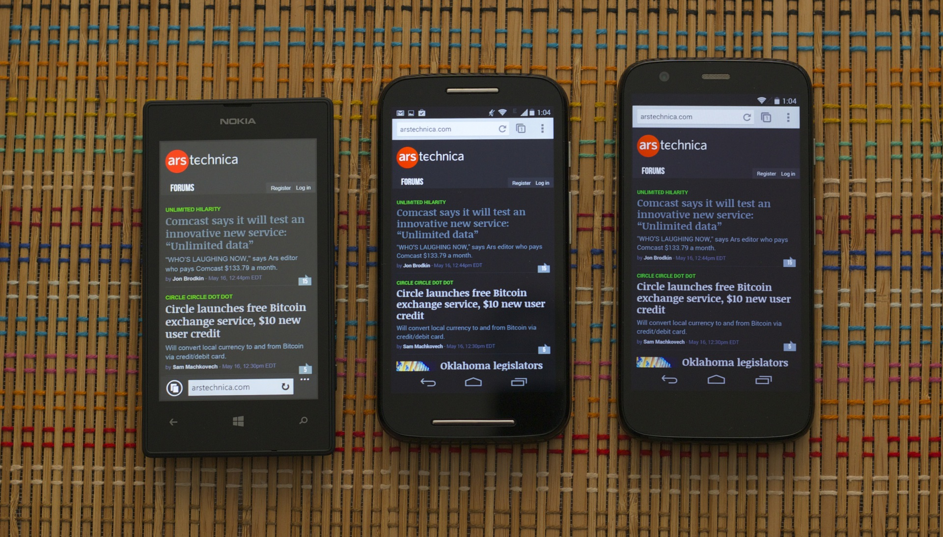 Even head-on, you can see the Lumia 520's screen (left) has grayer blacks than the Moto E (center) or the Moto G.