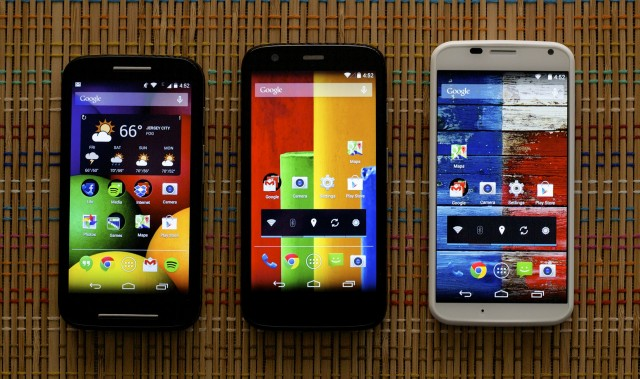 The Moto E, Moto G, and Moto X. The Moto E is a little smaller than the Moto G but they feel mostly the same in your hand.