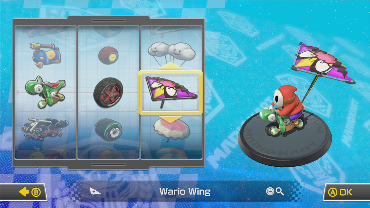 Many of these kart customization options are identical from a gameplay perspective.