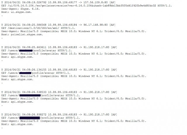 Redacted HTTP requests revealing the usernames of contacts in a Skype address book.