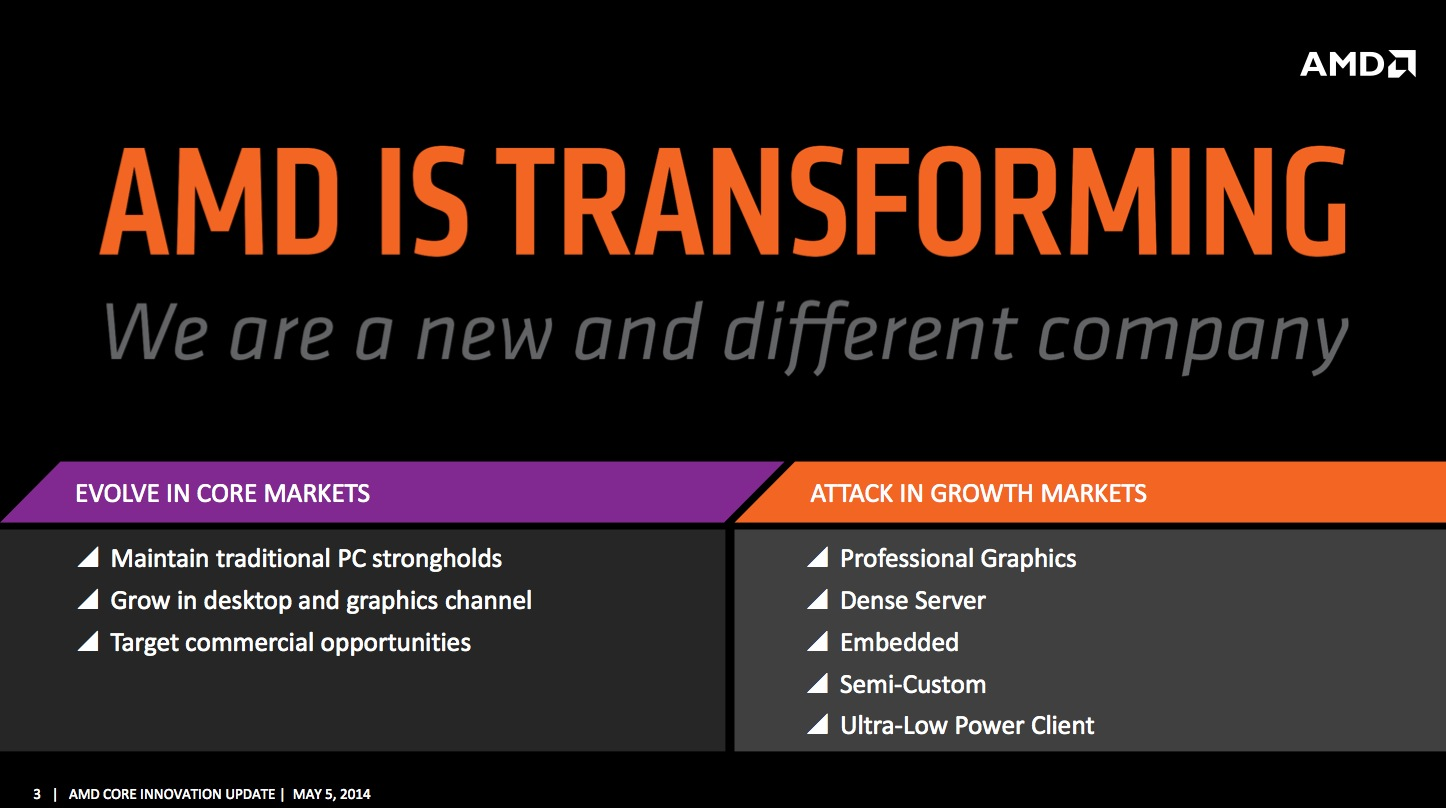 "This ""new and different"" AMD is trying to maximize its footprint in established markets while growing into new ones."