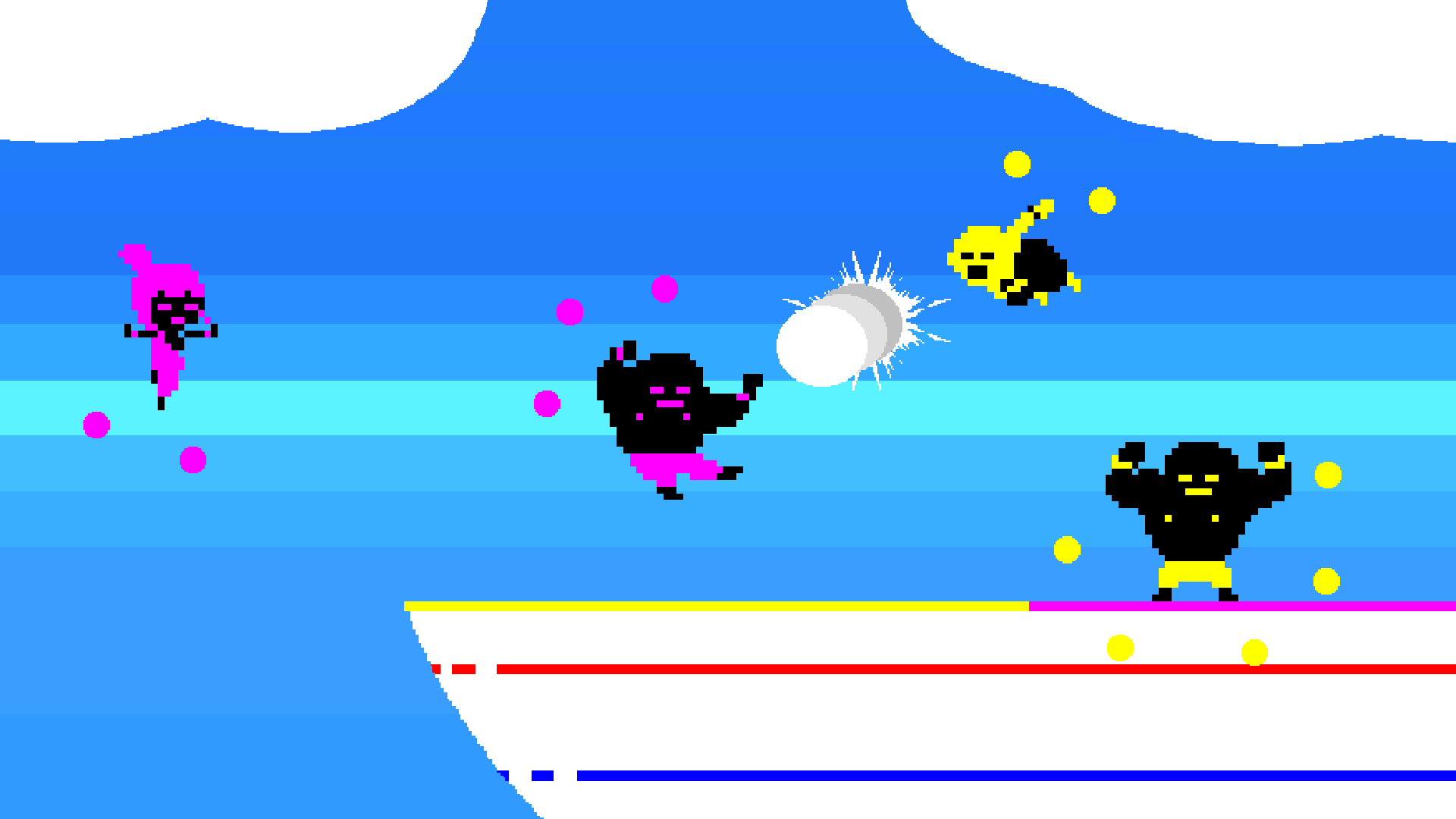 <em>Baribariball</em> asks players to score points by dumping a ball in an opponent's zone. Whether you smack your opponent with said ball en route to victory is entirely up to you.