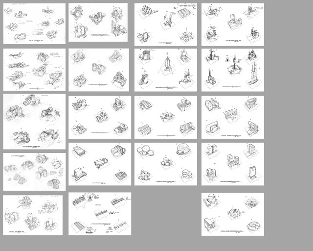 Early concept sketches for various resource extraction and conversion units.