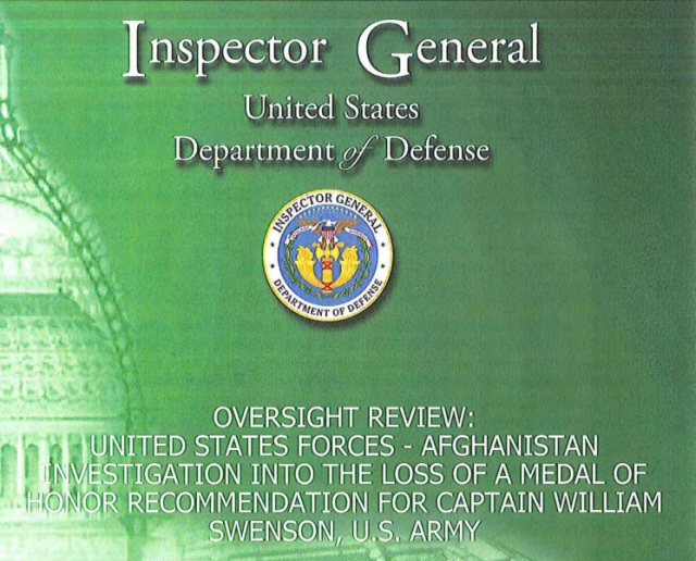 The cover of the DOD Inspector General's report, originally marked as For Official Use Only. A redacted version is now available online.