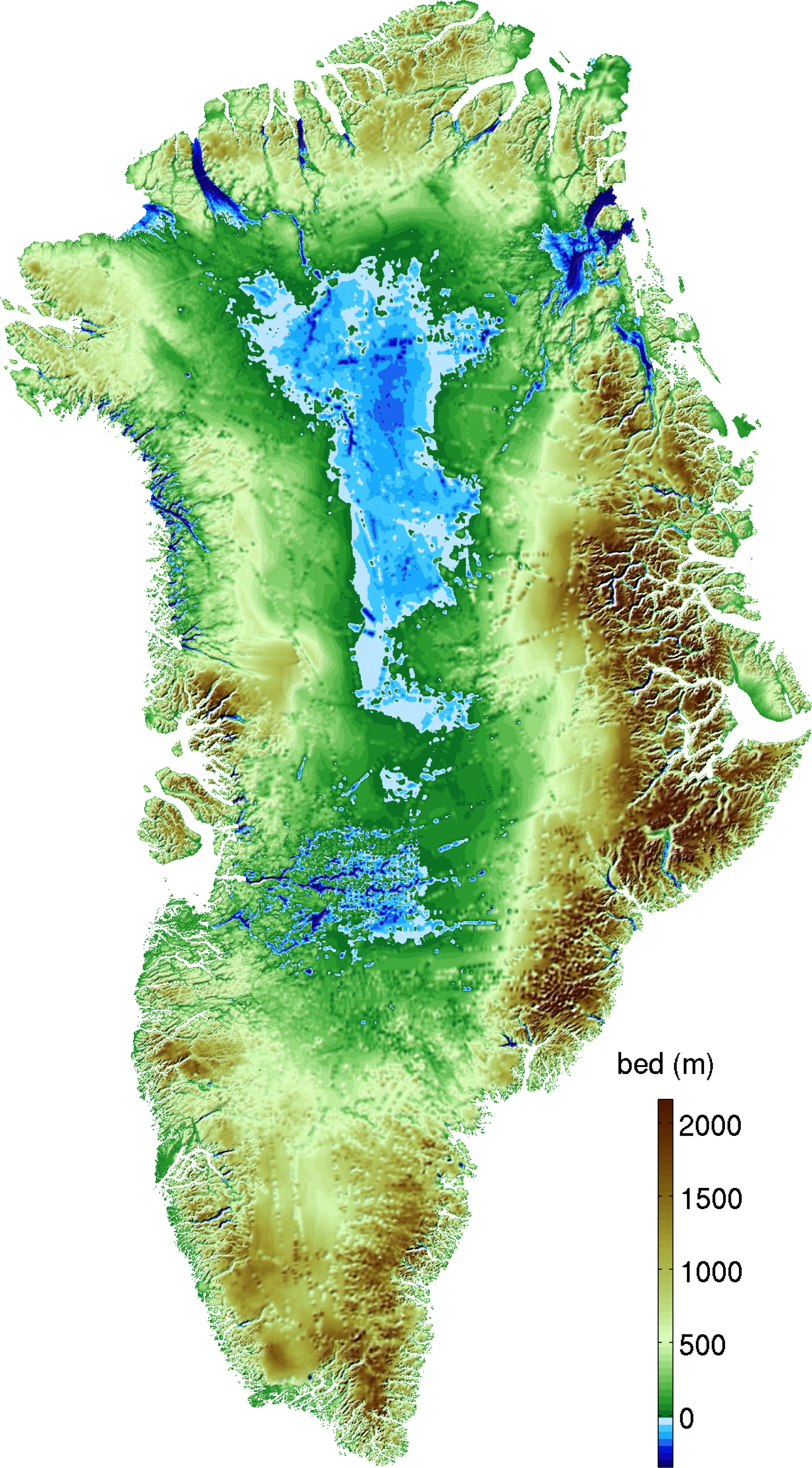 The new map of Greenland's topography. The straight lines visible in the interior of the continent are artifacts from aerial surveys that measured ice depth.
