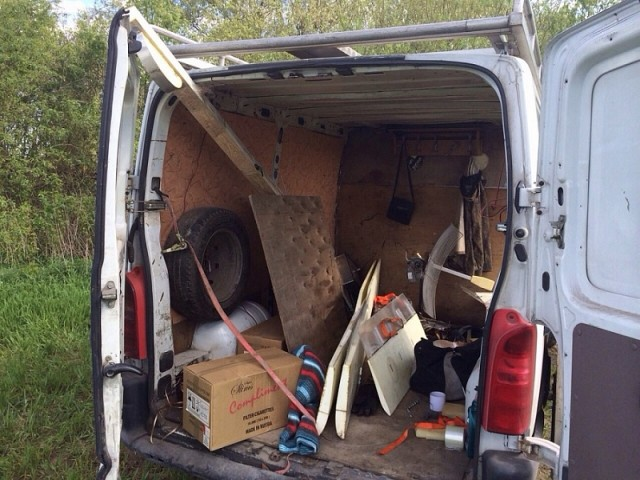 The smugglers' drone operations center—the back of a panel van.