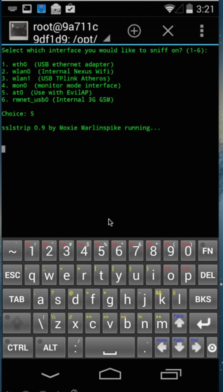 SSL Strip running on the Pwn Phone.