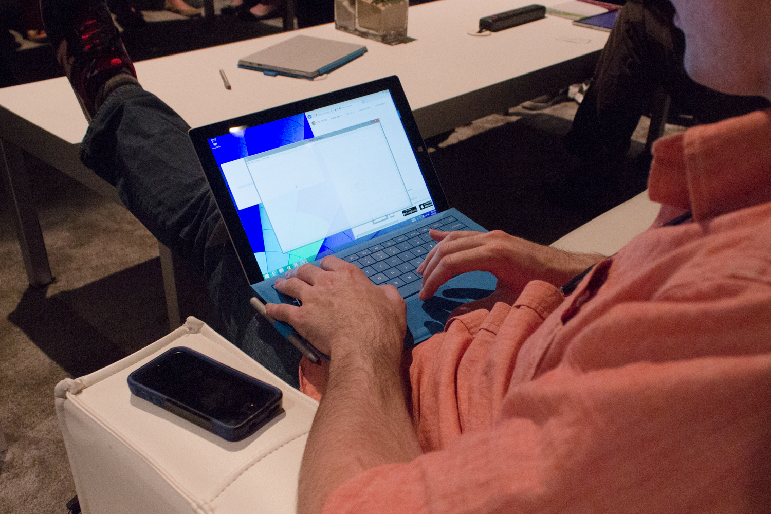 Typing on the Surface Pro 3.