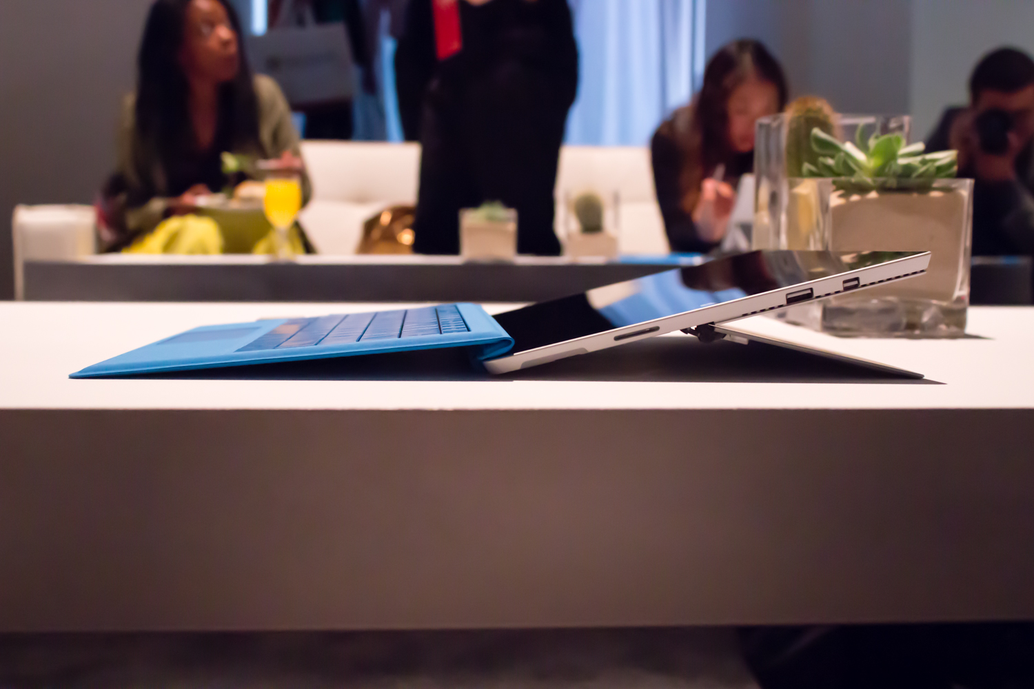 When opened to its full extent, the Surface Pro 3 is held at a convenient angle for writing on-screen.