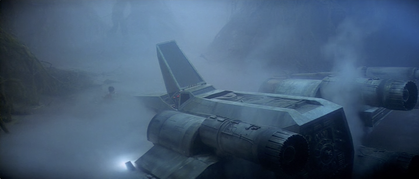 The same frame from the anamorphic DVD special edition. Note the sharper details, like on the X-wing's port engine.
