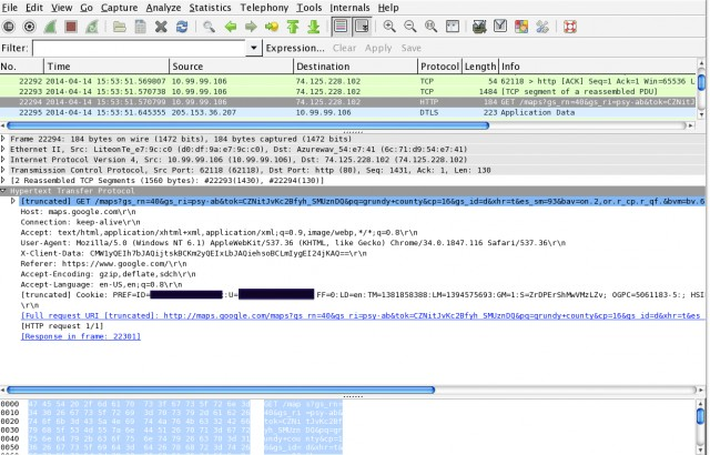 A redacted screenshot of Wireshark showing an unencrypted request from within a secure Google search to Google Maps. The request for Grundy County, Iowa data sent Steve Henn's Google PREF cookie data in the clear.