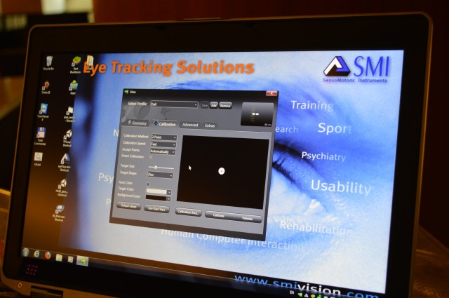 The GUI that lets you calibrate SMI's eye-tracking platform.